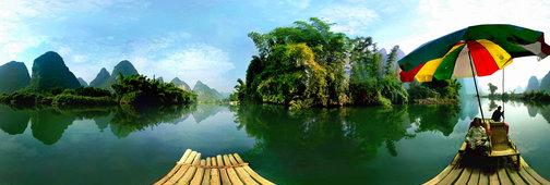 Bamboo Raft on Yulong River by yunzen liu