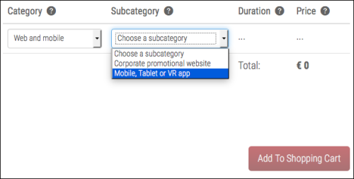 Choose Category, Subcategory and Time